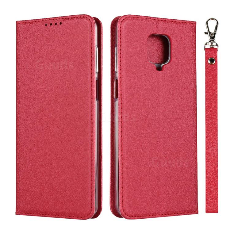 Ultra Slim Magnetic Automatic Suction Silk Lanyard Leather Flip Cover for Xiaomi Redmi Note 9s / Note9 Pro / Note 9 Pro Max - Red