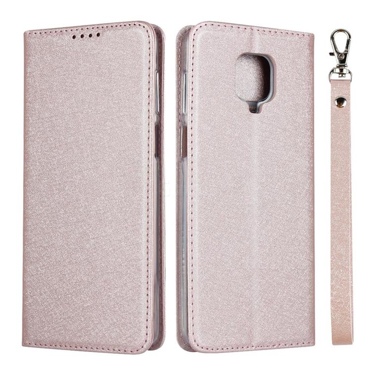 Ultra Slim Magnetic Automatic Suction Silk Lanyard Leather Flip Cover for Xiaomi Redmi Note 9s / Note9 Pro / Note 9 Pro Max - Rose Gold