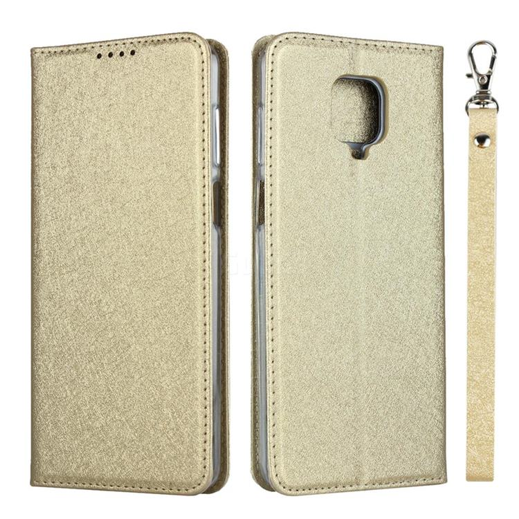 Ultra Slim Magnetic Automatic Suction Silk Lanyard Leather Flip Cover for Xiaomi Redmi Note 9s / Note9 Pro / Note 9 Pro Max - Golden