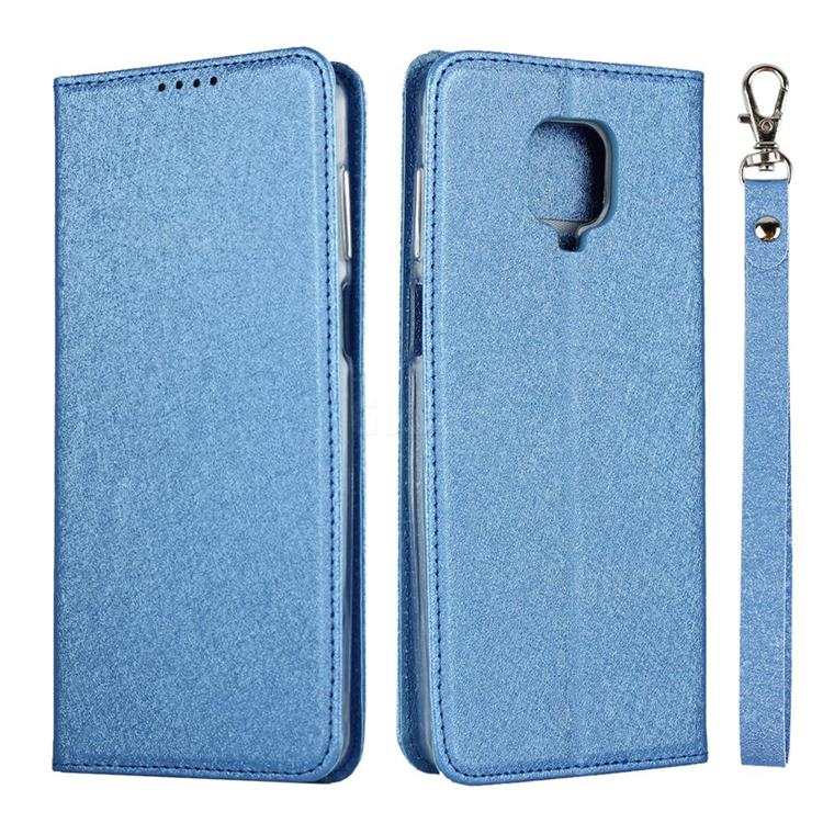 Ultra Slim Magnetic Automatic Suction Silk Lanyard Leather Flip Cover for Xiaomi Redmi Note 9s / Note9 Pro / Note 9 Pro Max - Sky Blue