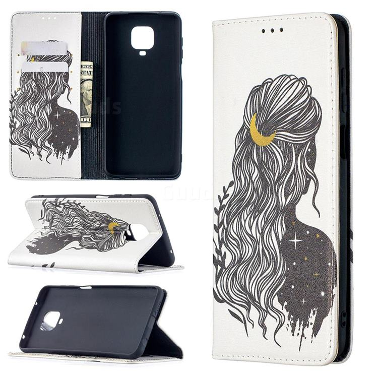 Girl with Long Hair Slim Magnetic Attraction Wallet Flip Cover for Xiaomi Redmi Note 9s / Note9 Pro / Note 9 Pro Max
