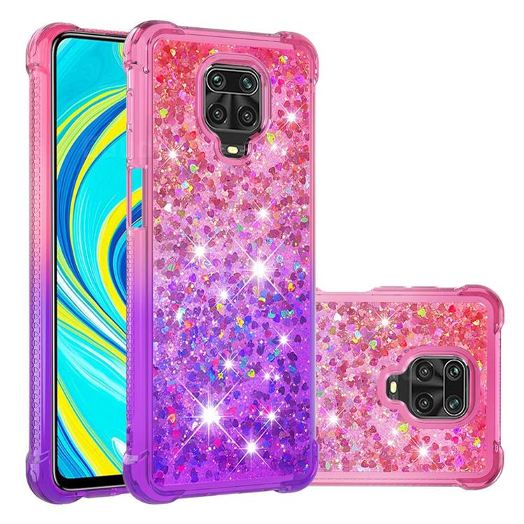 Rainbow Gradient Liquid Glitter Quicksand Sequins Phone Case for Xiaomi Redmi Note 9s / Note9 Pro / Note 9 Pro Max - Pink Purple