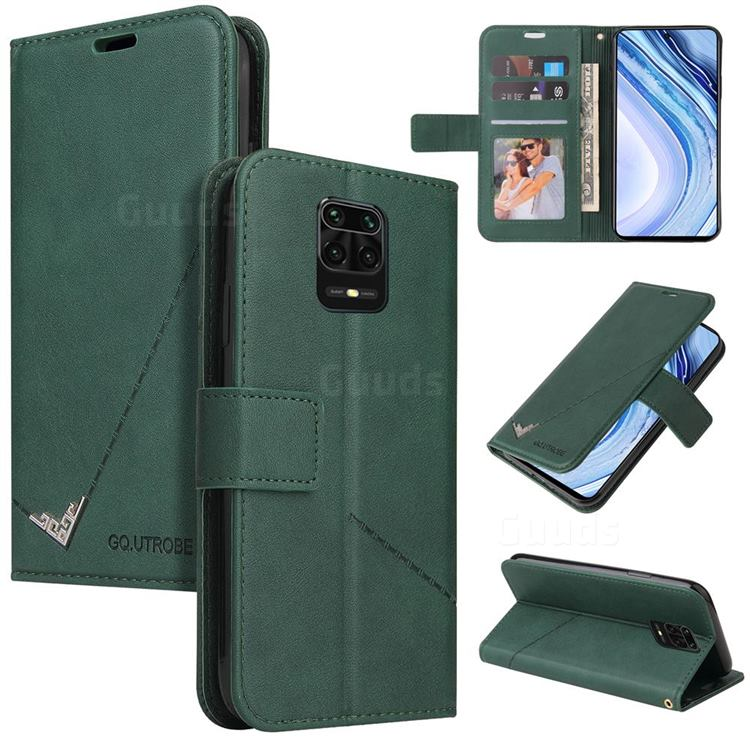GQ.UTROBE Right Angle Silver Pendant Leather Wallet Phone Case for Xiaomi Redmi Note 9s / Note9 Pro / Note 9 Pro Max - Green