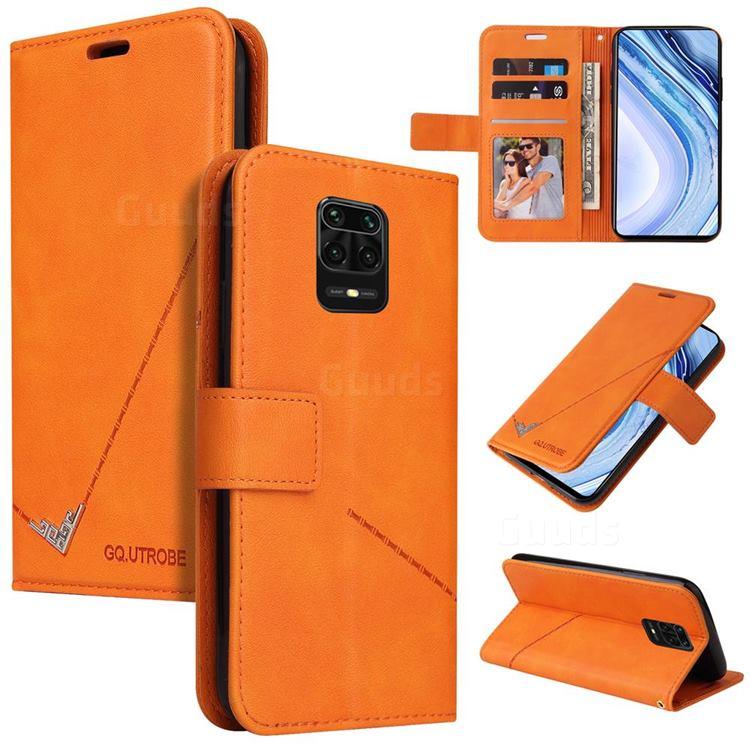 GQ.UTROBE Right Angle Silver Pendant Leather Wallet Phone Case for Xiaomi Redmi Note 9s / Note9 Pro / Note 9 Pro Max - Orange