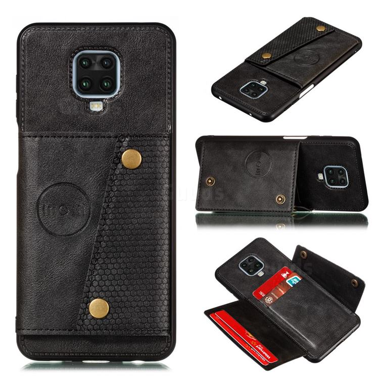Retro Multifunction Card Slots Stand Leather Coated Phone Back Cover for Xiaomi Redmi Note 9s / Note9 Pro / Note 9 Pro Max - Black
