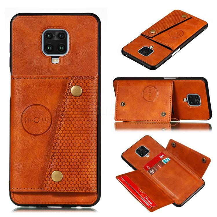 Retro Multifunction Card Slots Stand Leather Coated Phone Back Cover for Xiaomi Redmi Note 9s / Note9 Pro / Note 9 Pro Max - Brown