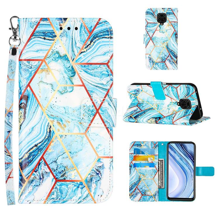 Lake Blue Stitching Color Marble Leather Wallet Case for Xiaomi Redmi Note 9s / Note9 Pro / Note 9 Pro Max