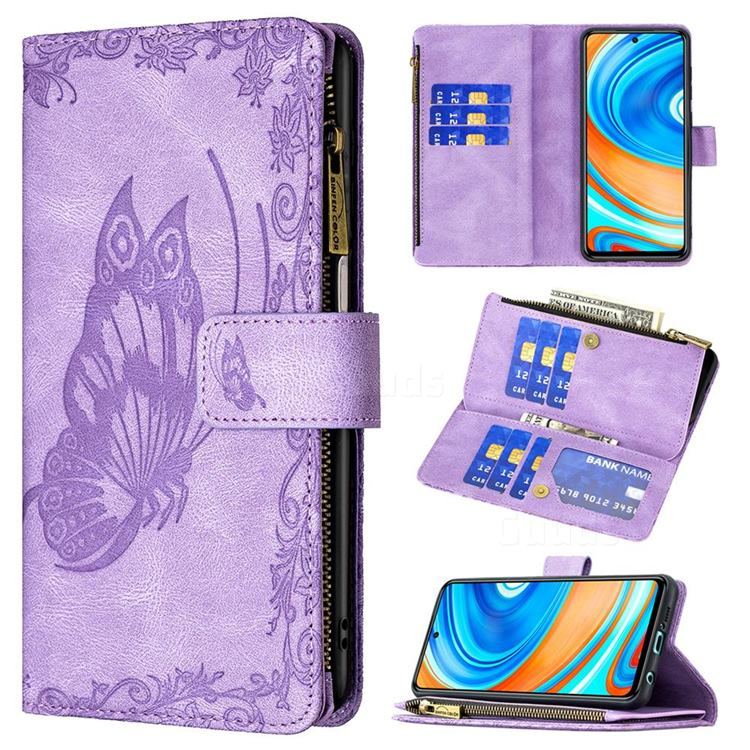 Binfen Color Imprint Vivid Butterfly Buckle Zipper Multi-function Leather Phone Wallet for Xiaomi Redmi Note 9s / Note9 Pro / Note 9 Pro Max - Purple