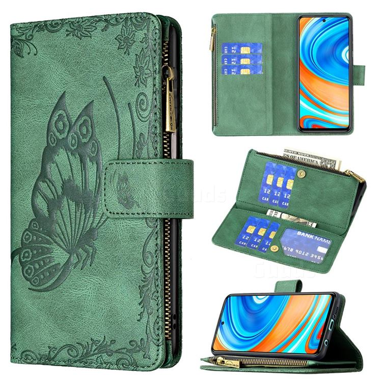 Binfen Color Imprint Vivid Butterfly Buckle Zipper Multi-function Leather Phone Wallet for Xiaomi Redmi Note 9s / Note9 Pro / Note 9 Pro Max - Green