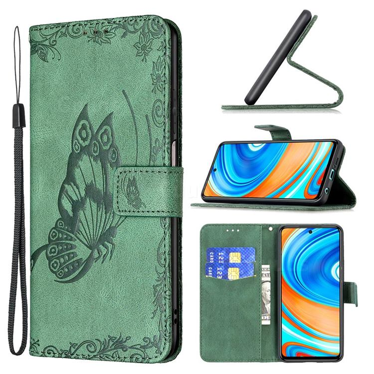 Binfen Color Imprint Vivid Butterfly Leather Wallet Case for Xiaomi Redmi Note 9s / Note9 Pro / Note 9 Pro Max - Green