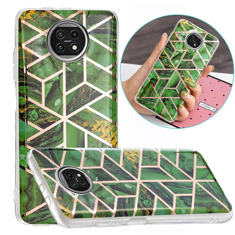 Green Rhombus Galvanized Rose Gold Marble Phone Back Cover for Xiaomi Redmi Note 9T