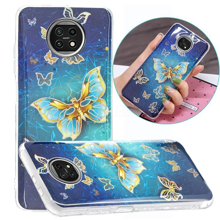Golden Butterfly Painted Galvanized Electroplating Soft Phone Case Cover for Xiaomi Redmi Note 9T
