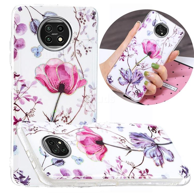 Magnolia Painted Galvanized Electroplating Soft Phone Case Cover for Xiaomi Redmi Note 9T