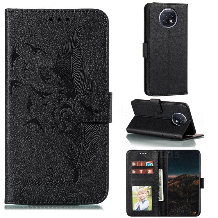 Intricate Embossing Lychee Feather Bird Leather Wallet Case for Xiaomi Redmi Note 9T - Black