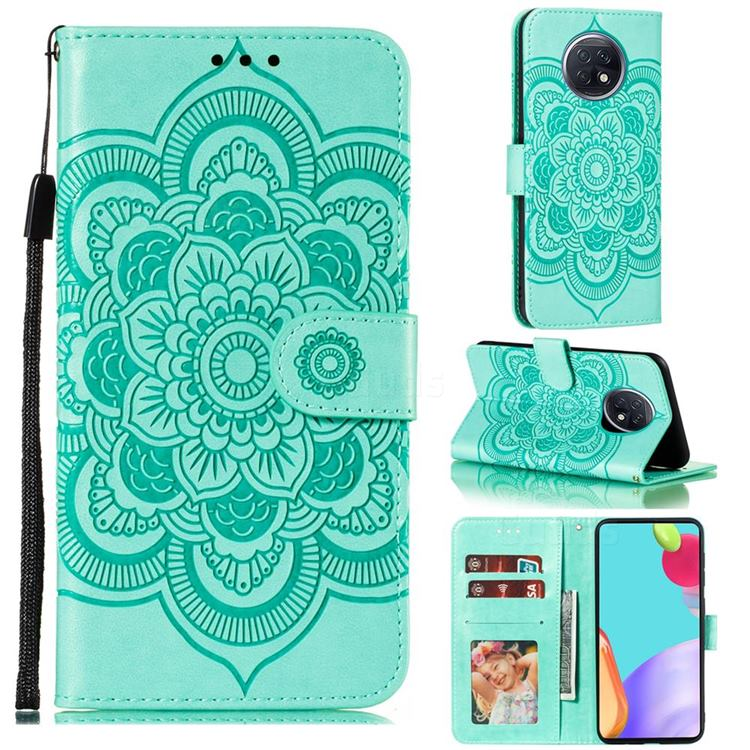 Intricate Embossing Datura Solar Leather Wallet Case for Xiaomi Redmi Note 9T - Green