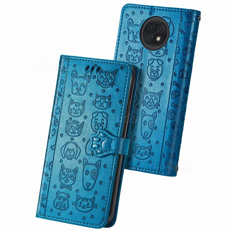 Embossing Dog Paw Kitten and Puppy Leather Wallet Case for Xiaomi Redmi Note 9T - Blue