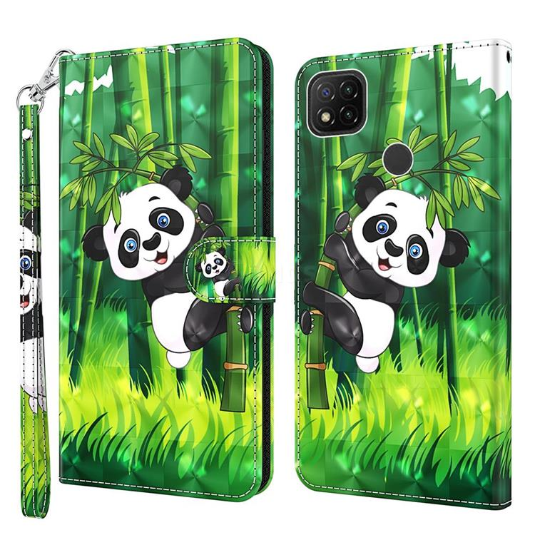 Climbing Bamboo Panda 3D Painted Leather Wallet Case for Mi Xiaomi Poco C3