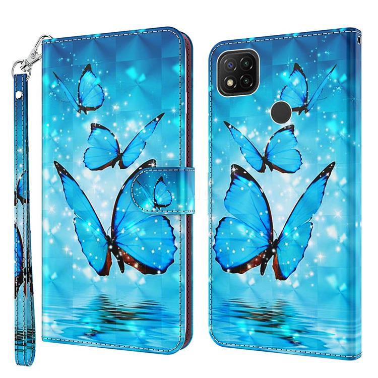 Blue Sea Butterflies 3D Painted Leather Wallet Case for Mi Xiaomi Poco C3