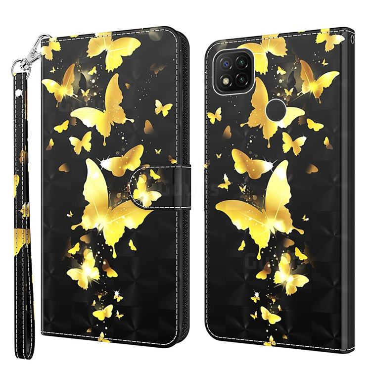 Golden Butterfly 3D Painted Leather Wallet Case for Mi Xiaomi Poco C3