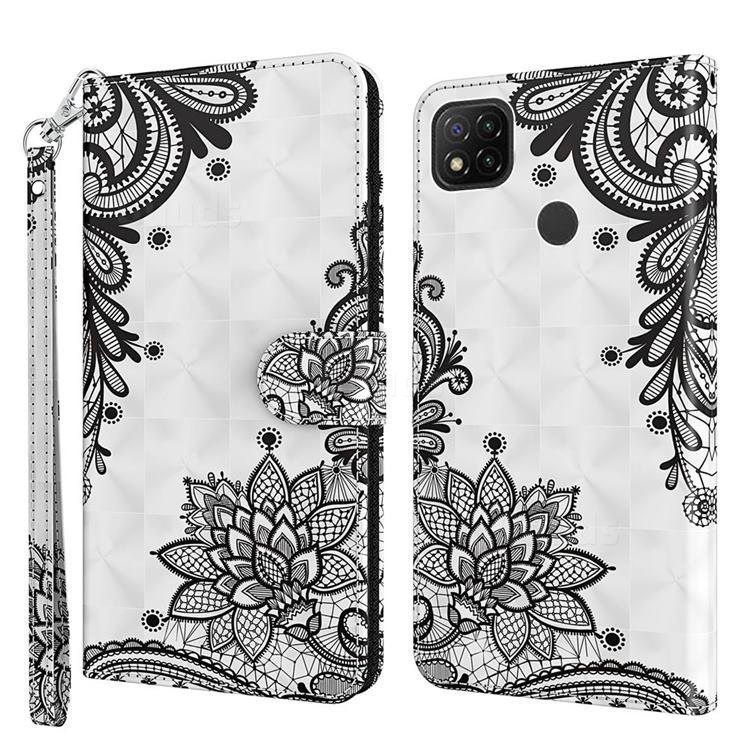Black Lace Flower 3D Painted Leather Wallet Case for Mi Xiaomi Poco C3