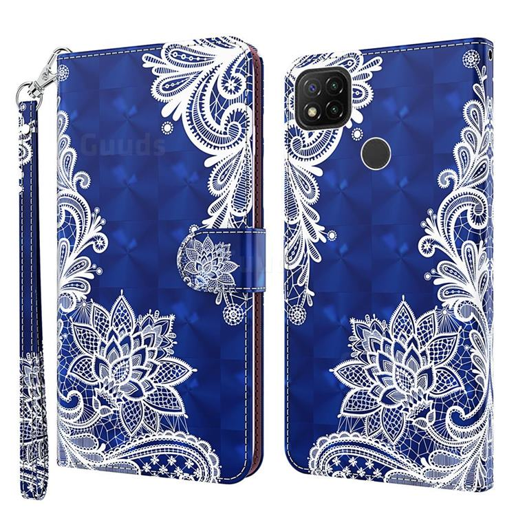 White Lace 3D Painted Leather Wallet Case for Mi Xiaomi Poco C3