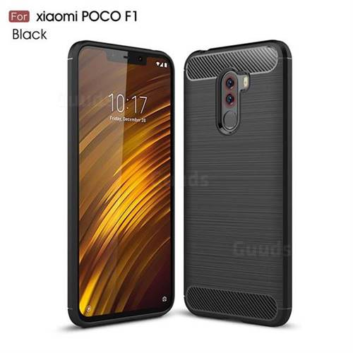 Luxury Carbon Fiber Brushed Wire Drawing Silicone TPU Back Cover for Mi Xiaomi Pocophone F1 - Black
