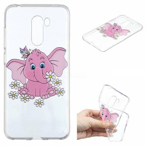 Tiny Pink Elephant Clear Varnish Soft Phone Back Cover for Mi Xiaomi Pocophone F1