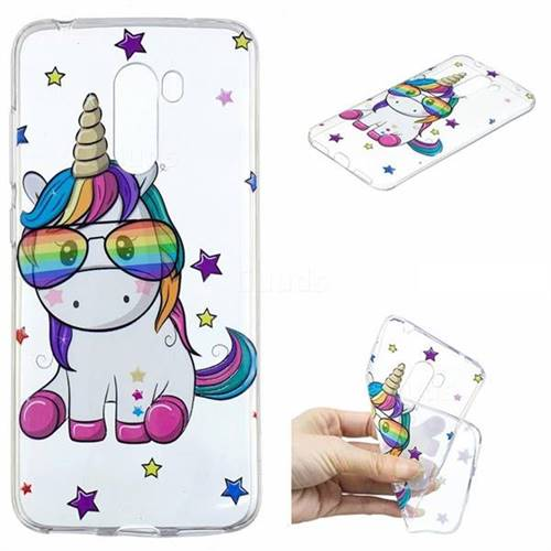 Glasses Unicorn Clear Varnish Soft Phone Back Cover for Mi Xiaomi Pocophone F1