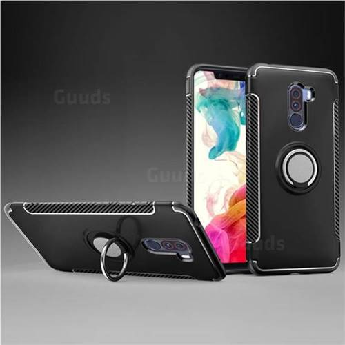 Armor Anti Drop Carbon PC + Silicon Invisible Ring Holder Phone Case for Mi Xiaomi Pocophone F1 - Black