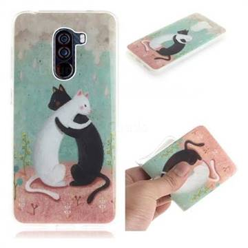 Black and White Cat IMD Soft TPU Cell Phone Back Cover for Mi Xiaomi Pocophone F1