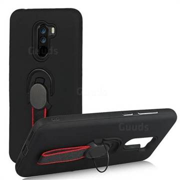 Raytheon Multi-function Ribbon Stand Back Cover for Mi Xiaomi Pocophone F1 - Black