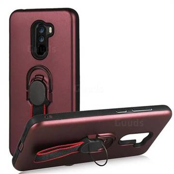 Raytheon Multi-function Ribbon Stand Back Cover for Mi Xiaomi Pocophone F1 - Wine Red