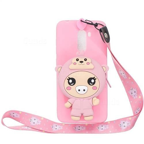 Pink Pig Neck Lanyard Zipper Wallet Silicone Case for Mi Xiaomi Pocophone F1