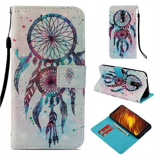 ColorDrops Wind Chimes 3D Painted Leather Wallet Case for Mi Xiaomi Pocophone F1