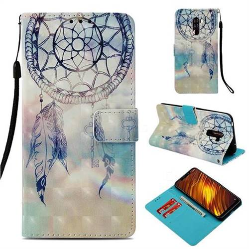 Fantasy Campanula 3D Painted Leather Wallet Case for Mi Xiaomi Pocophone F1