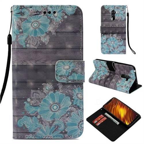 Blue Flower 3D Painted Leather Wallet Case for Mi Xiaomi Pocophone F1