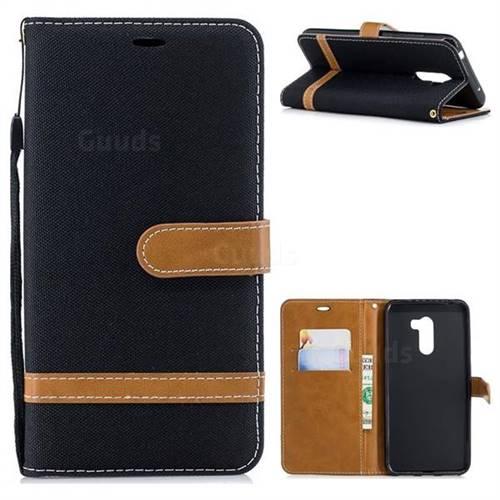 Jeans Cowboy Denim Leather Wallet Case for Mi Xiaomi Pocophone F1 - Black