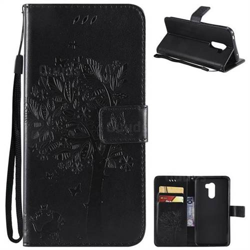 Embossing Butterfly Tree Leather Wallet Case for Mi Xiaomi Pocophone F1 - Black