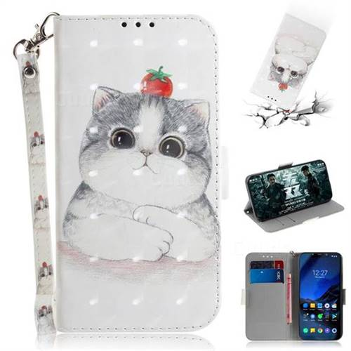 Cute Tomato Cat 3D Painted Leather Wallet Phone Case for Mi Xiaomi Pocophone F1