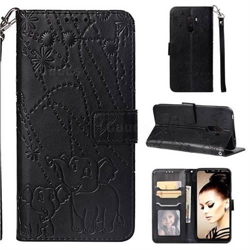 Embossing Fireworks Elephant Leather Wallet Case for Mi Xiaomi Pocophone F1 - Black