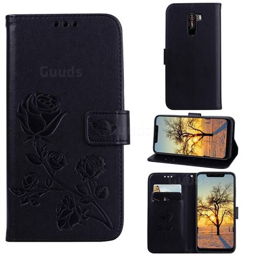 Embossing Rose Flower Leather Wallet Case for Mi Xiaomi Pocophone F1 - Black
