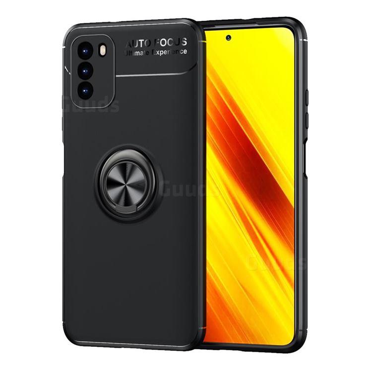 Auto Focus Invisible Ring Holder Soft Phone Case for Mi Xiaomi Poco M3 - Black