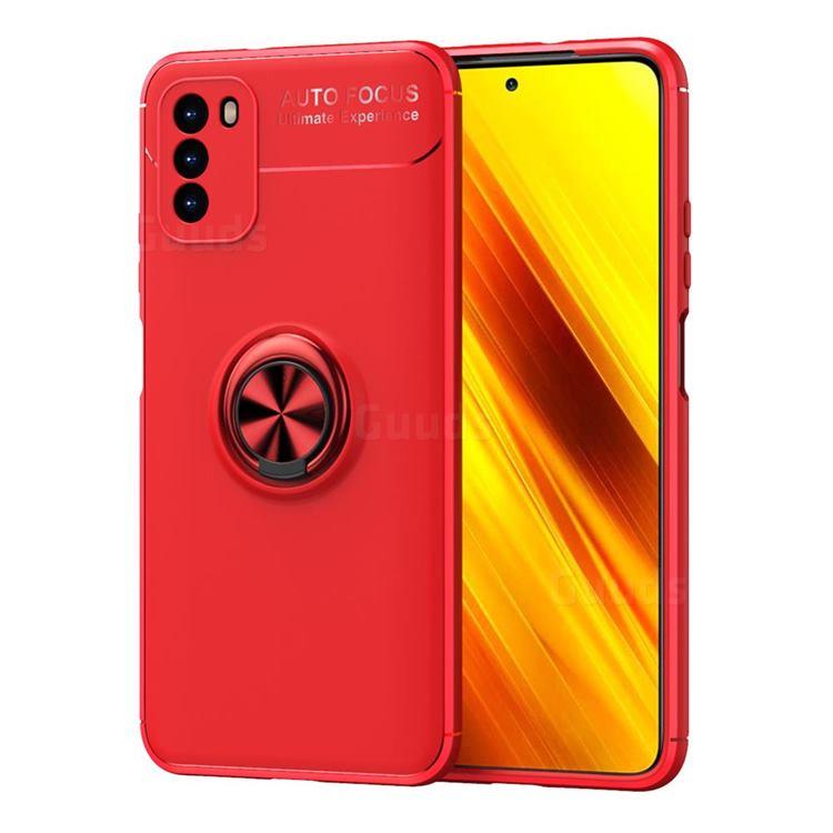 Auto Focus Invisible Ring Holder Soft Phone Case for Mi Xiaomi Poco M3 - Red