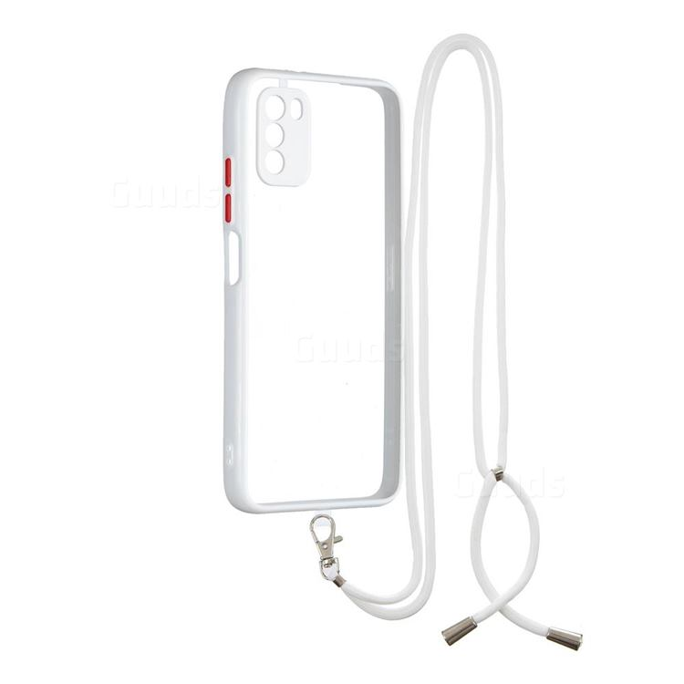 Necklace Cross-body Lanyard Strap Cord Phone Case Cover for Mi Xiaomi Poco M3 - White