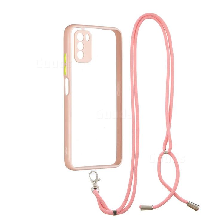 Necklace Cross-body Lanyard Strap Cord Phone Case Cover for Mi Xiaomi Poco M3 - Pink