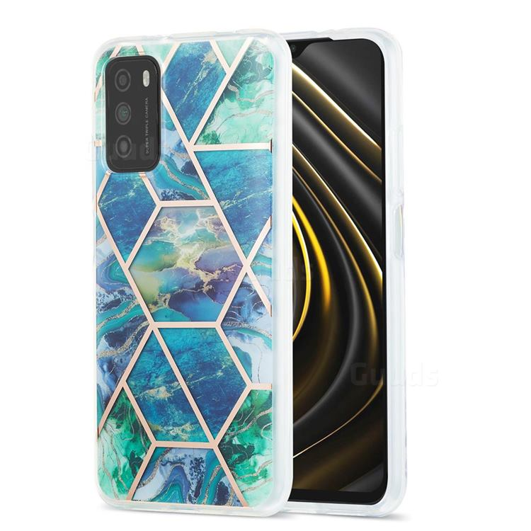 Blue Green Marble Pattern Galvanized Electroplating Protective Case Cover for Mi Xiaomi Poco M3