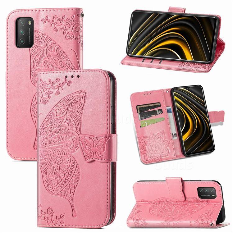 Embossing Mandala Flower Butterfly Leather Wallet Case for Mi Xiaomi Poco M3 - Pink