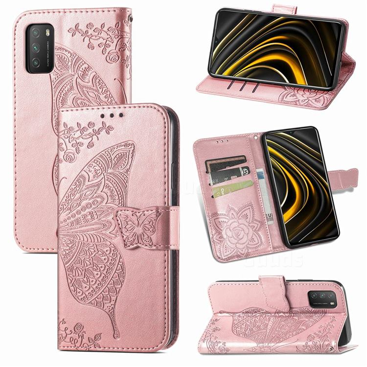 Embossing Mandala Flower Butterfly Leather Wallet Case for Mi Xiaomi Poco M3 - Rose Gold
