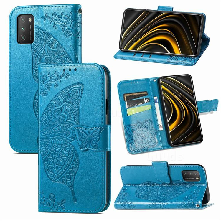 Embossing Mandala Flower Butterfly Leather Wallet Case for Mi Xiaomi Poco M3 - Blue
