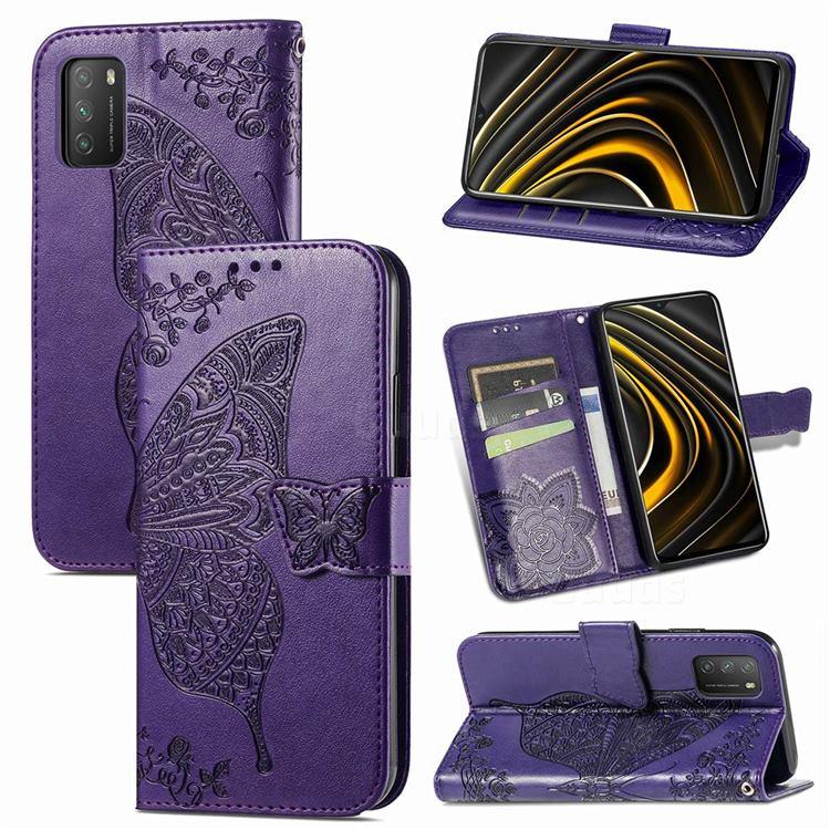 Embossing Mandala Flower Butterfly Leather Wallet Case for Mi Xiaomi Poco M3 - Dark Purple